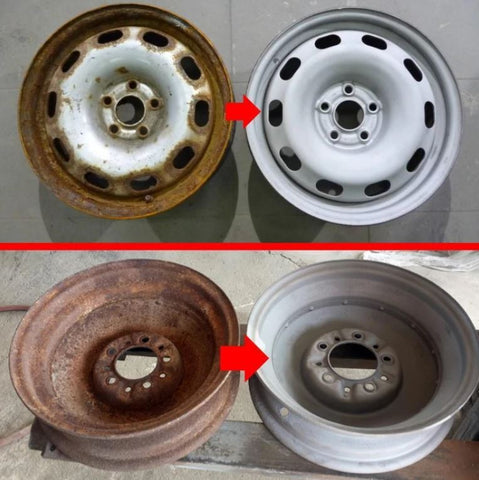 Before and after pictures of a rusted wheel after using the Pneumatic Sandblaster Pro