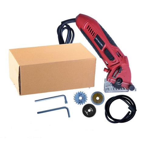 All of the contents within the Mini Precision Circular Tool which includes 3 sawing blades, wrench tools and dust tube.