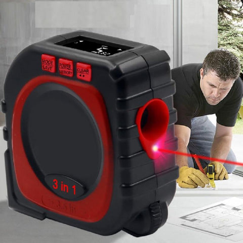 A contractor measuring the floor using the laser mode of the 3-in-1 Digital Measuring Tape