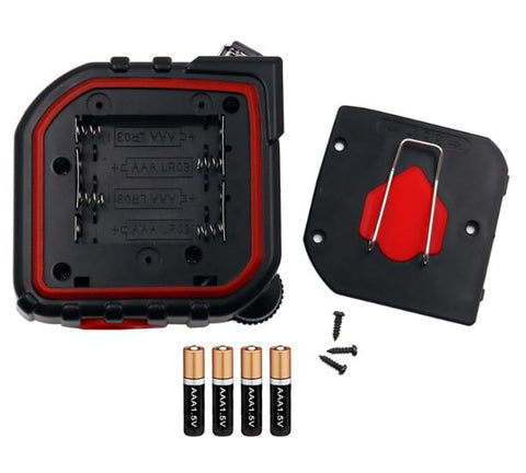 inserting 4 triple A batteries into the 3-in-1 Digital Measuring Tape