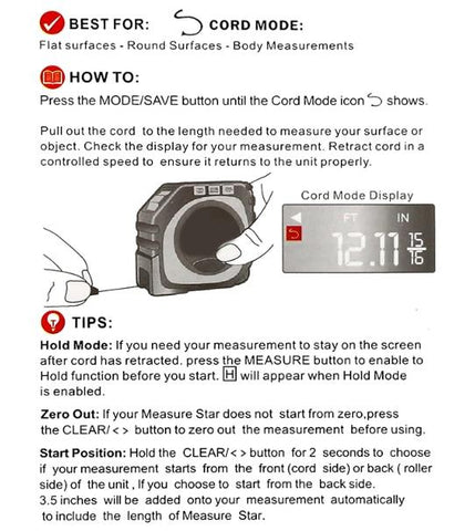 Instruction Manual on Using the 3-in-1 Digital Measuring Tape in String Mode