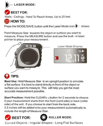Instruction Manual on using the 3-in-1 Digital Measuring Tape in Laser Mode
