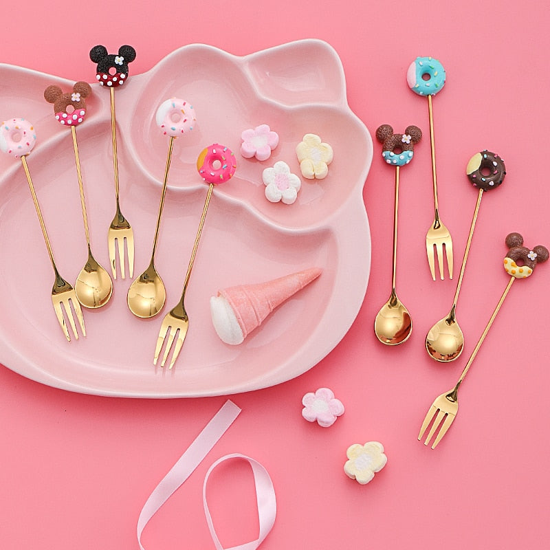 Emphecy Golden 8-Piece Cartoon Dessert Utensils