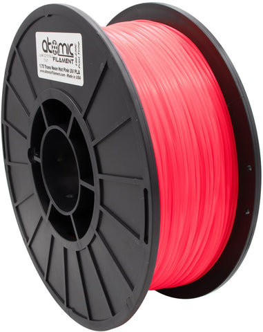 1.75mm Translucent Neon Hot Pink UV Reactive PLA Atomic Fliament 1kg Spool