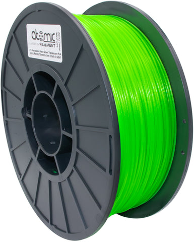 1.75 mm Pearlescent Neon Green Translucent UV Reactive PLA Atomic Filament 1kg Spool