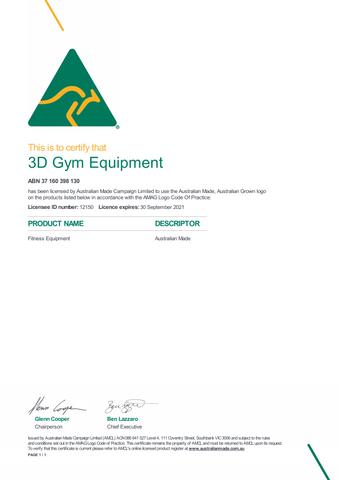 Australian Made License 3D Gym Equipment