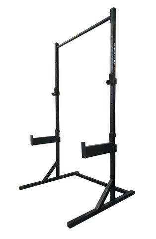Combo pull-up squat rack with J-Hooks and safety spotters