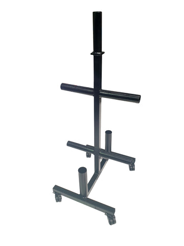 Weights tree for olympic size plates with barbell holders and castor wheels