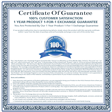 HYLA 1-FOR-1 CERTIFICATE OF GUARANTEE