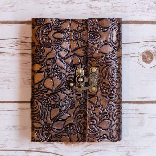 Floral Latch Leather Journal