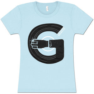 Ladies Record Arm T-Shirt - Baby Blue
