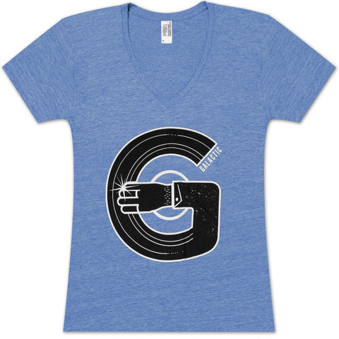 Ladies Record Arm V-Neck T-Shirt - Athletic Heather Royal