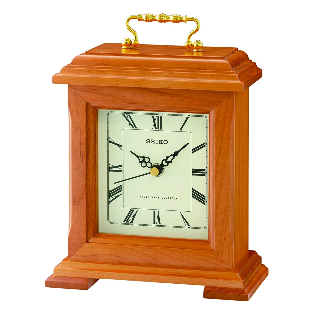 Seiko Wooden Mantel Clock with Beep Alarm – Light Brown | Mantel Clock | Clock Corner