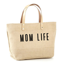 Load image into Gallery viewer, Mom Life Jute Tote