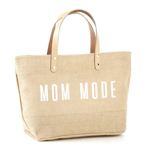 Mom Mode Jute Tote
