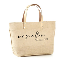 Load image into Gallery viewer, Custom Mrs. Teacher Stuff Jute Tote