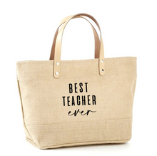 Load image into Gallery viewer, Best Teacher Ever Jute Tote