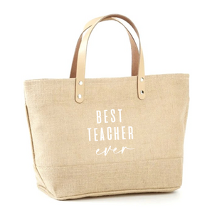 Best Teacher Ever Jute Tote