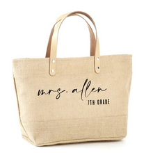Load image into Gallery viewer, Custom Mrs. + Grade Jute Tote