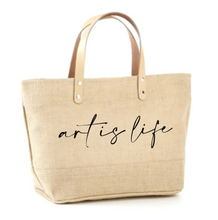 Load image into Gallery viewer, Art is Life Jute Tote