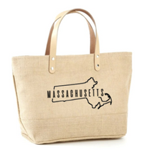 Load image into Gallery viewer, State Outline Jute Tote