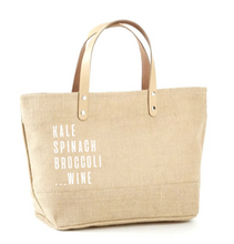 Load image into Gallery viewer, Kale, Spinach, Broccoli, Wine Jute Tote
