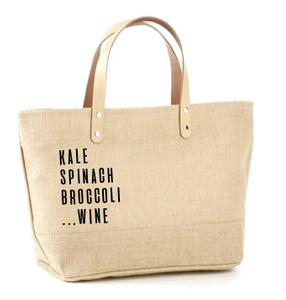 Kale, Spinach, Broccoli, Wine Jute Tote