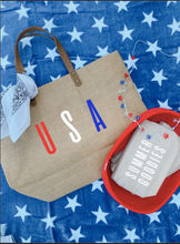 Load image into Gallery viewer, USA Multi Color Jute Tote