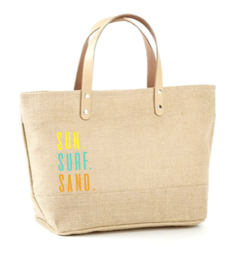 Sun Surf Sand Multi Color Jute Tote