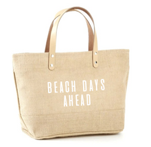 Load image into Gallery viewer, Beach Days Ahead Jute Tote