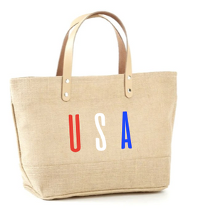 USA Multi Color Jute Tote