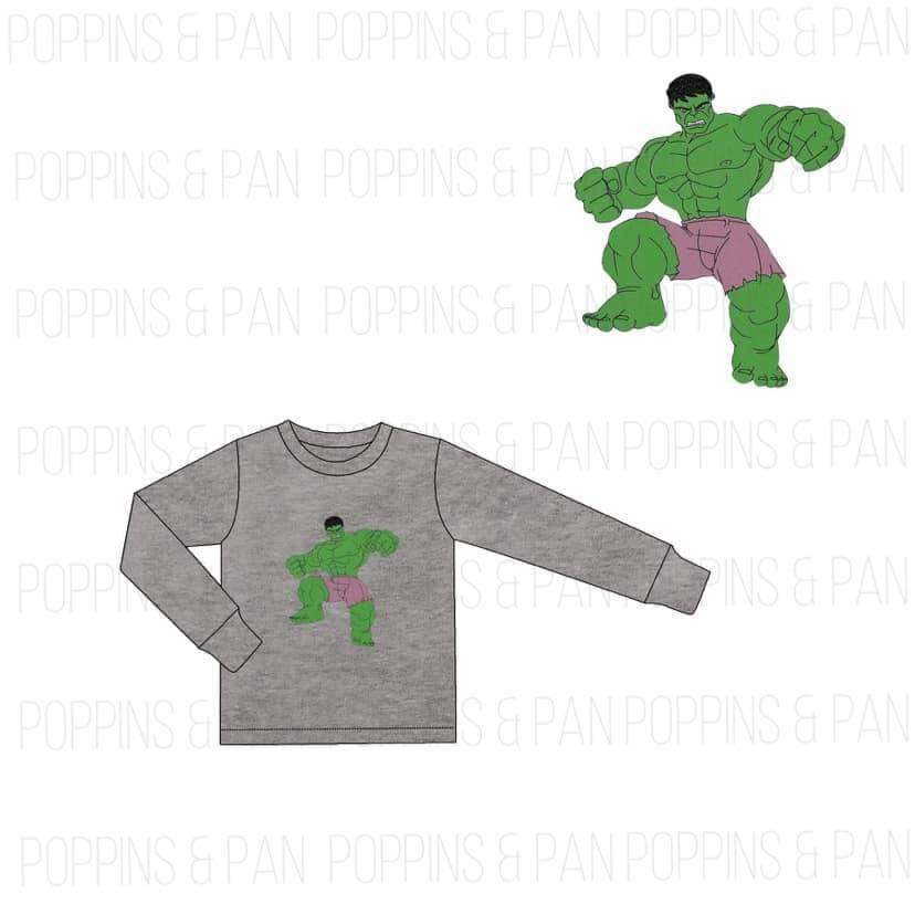 Hulk Applique Boys Long Sleeve Shirt