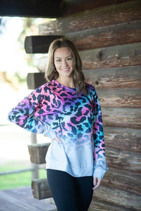 Ladies Rainbow Cheetah Top