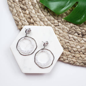 Silver Double Loop Dangle Earrings