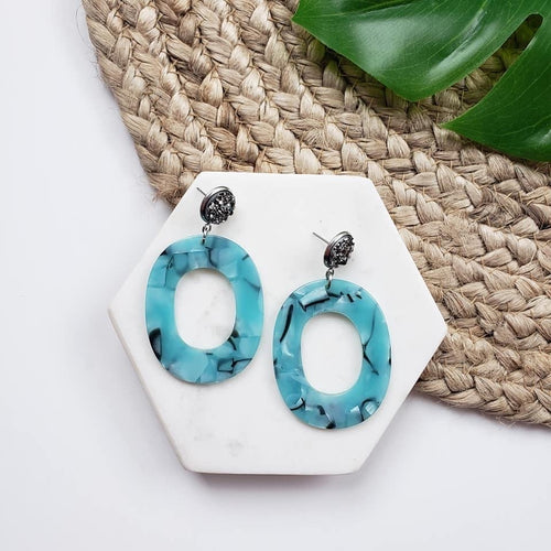 Blue Marbled Dangle Earrings