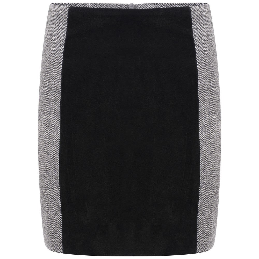 Kemerton Skirt - Black and White Herringbone