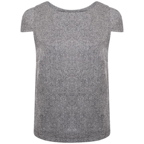 Tibberton Top - Black and White Herringbone