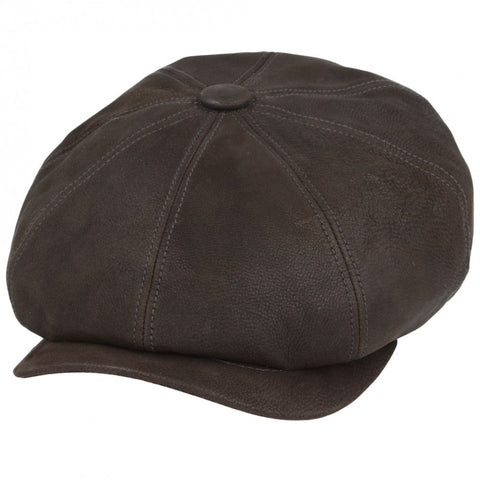 Leather Newsboy Baker Boy - Brown