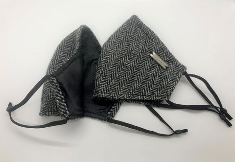 The Face Mask - Grey Herringbone