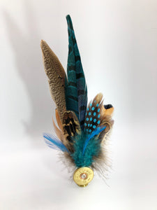 Harris End Feather Pin: Natural & Teal