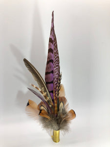 Harris End Feather Pin: Natural & Heather