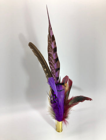 Harris End Feather Pin: Natural, Plum & Berry