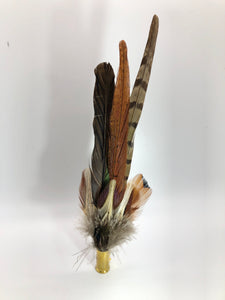 Harris End Feather Pin: Natural & Pumpkin