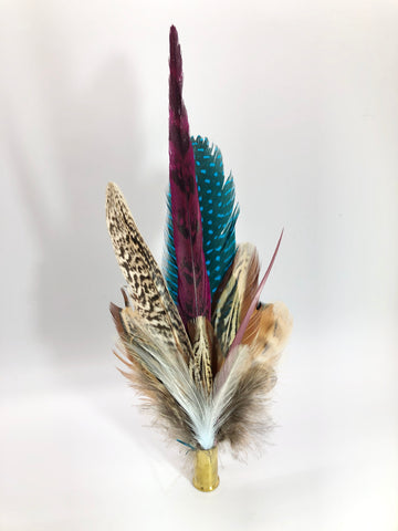 Harris End Feather Pin: Natural, Plum & Teal