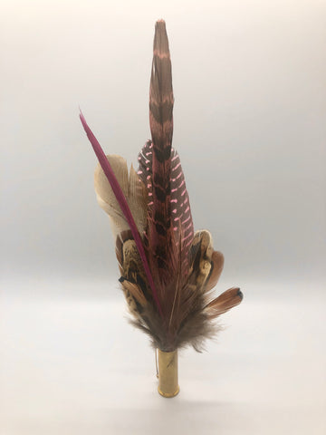 Harris End Feather Pin: Natural, Plum & Pink