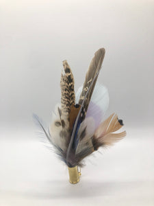 Harris End Feather Pin: Natural, Lavender & Mint