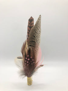 Harris End Feather Pin: Natural & Pink