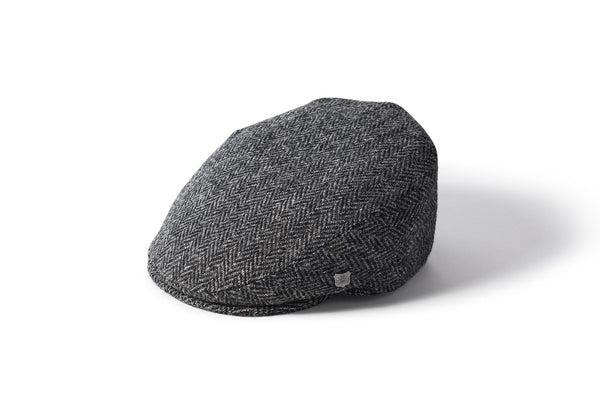 Harris Tweed Flat Cap - Grey Herringbone