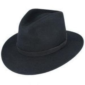Fedora Leather Band Black