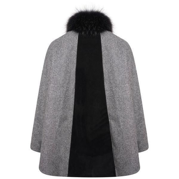 Knightsbridge Cape - Black Herringbone